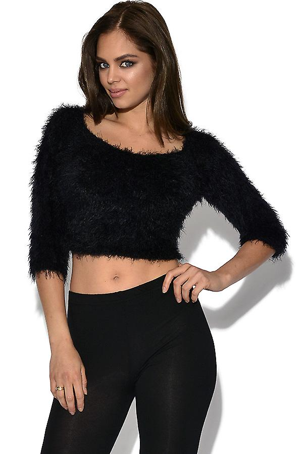 Fluffy Knit Crop Jumper