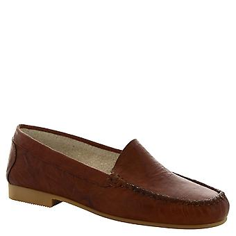 Leonardo Shoes Women's handmade slip-on loafers in brown calf leather