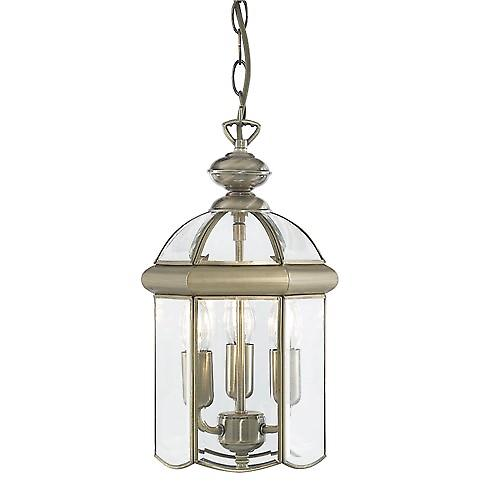 Searchlight 7133AB Lanterns Antique Brass Bevelled Glass Domed 3 Light Lantern