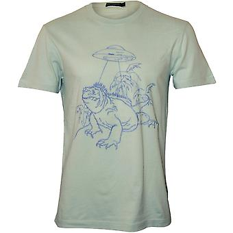 French Connection Iguana Spaceship Embroidered Design T-Shirt, Aqua Foam
