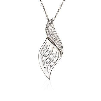 PENDANT WITH CHAIN LUXE FOLDING 925 SILVER ZIRCONIUM