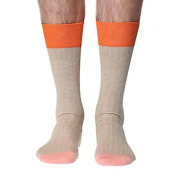 Rib men's luxury cotton dress sock in sand | By Richard James