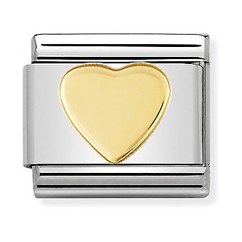 Nomination Classic Heart Steel and 18k Gold Link Charm 030116/02
