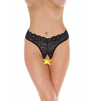 Amorable' Rimba Lingerie Sexy Black Lace Open Front G-String Knickers