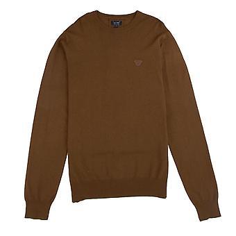 Armani Jeans Lightweight Patch Logo Sweatshirt Brown