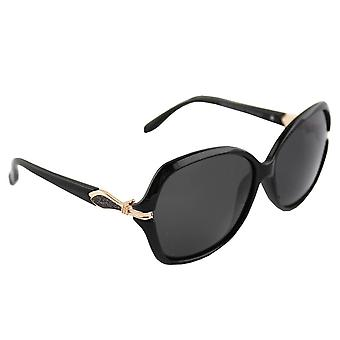 Sunglasses oval polarizing Glass gold black FREE BrillenkokerS326_1