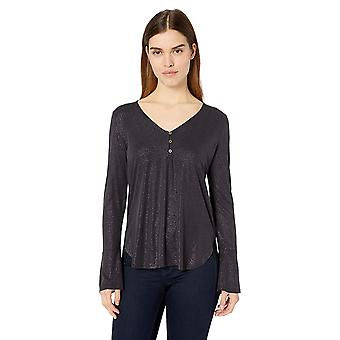 Lucky Brand Women's Sand WASH Henley TOP, Lucky Black,, Lucky Black, Size Small