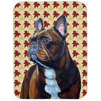 French Bulldog Fall Leaves Portrait Glass Cutting Board Large