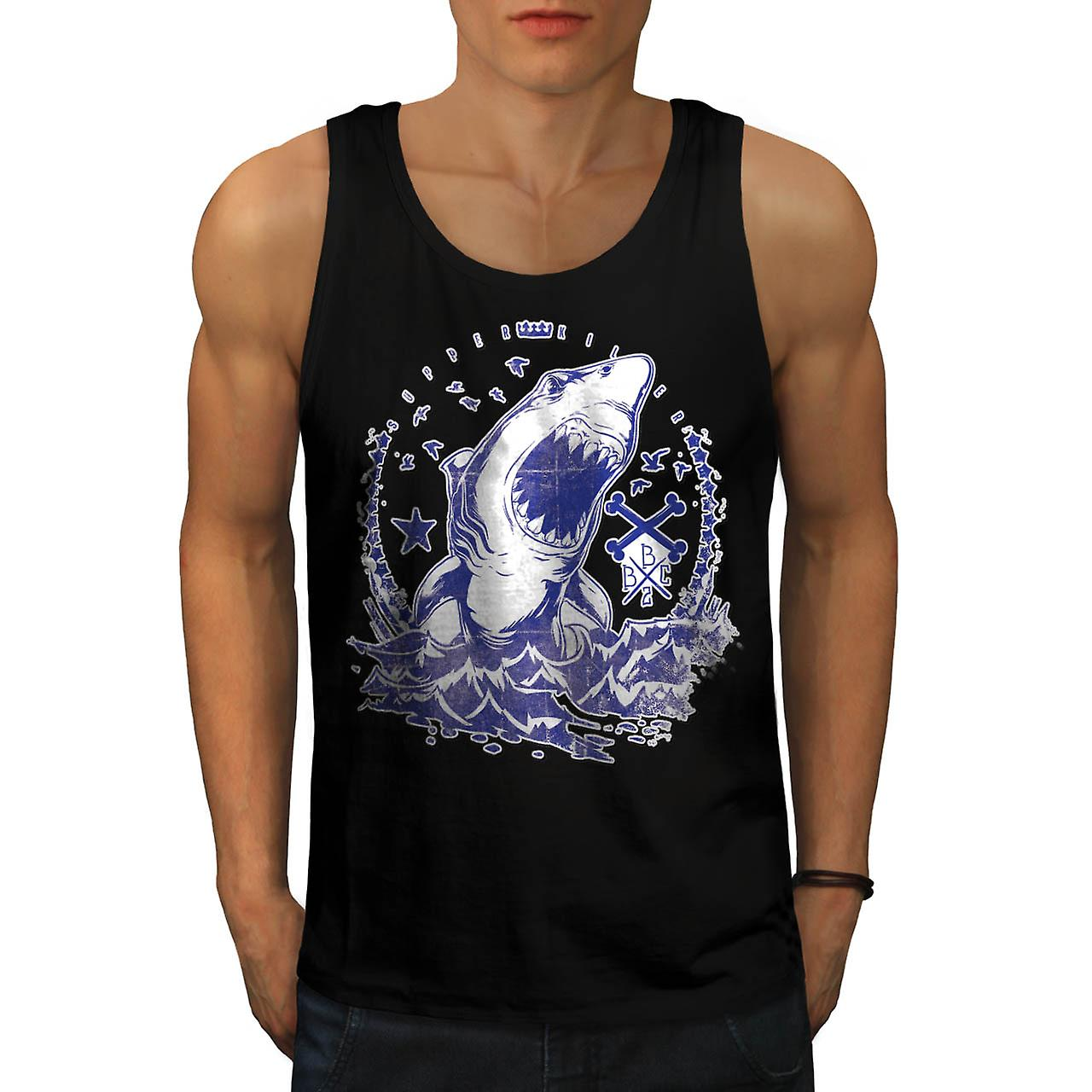 Shark Supper Killer Deadly Ocean Men Black Tank Top | Wellcoda