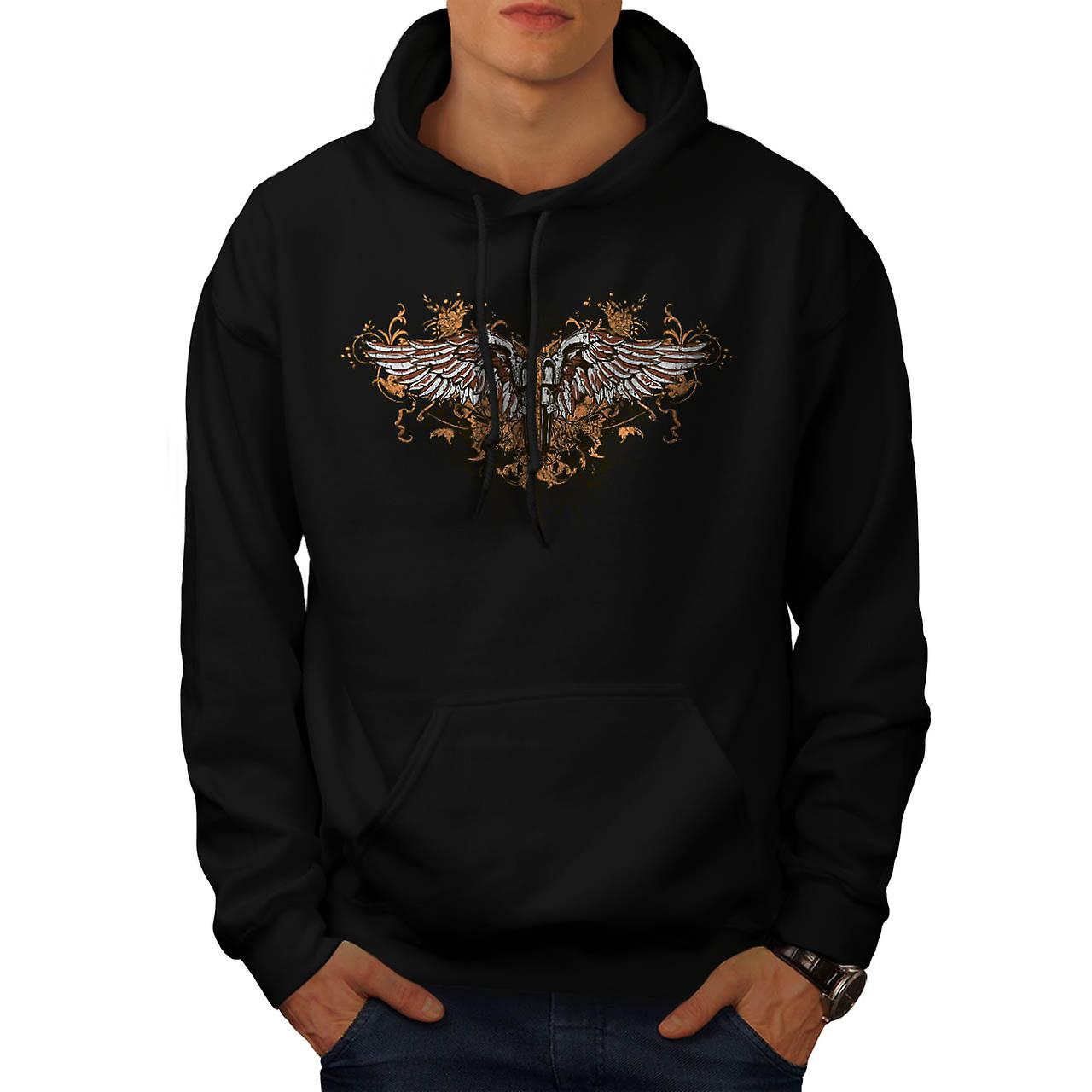 Pistol Gun Angel Wing Men Black Hoodie | Wellcoda