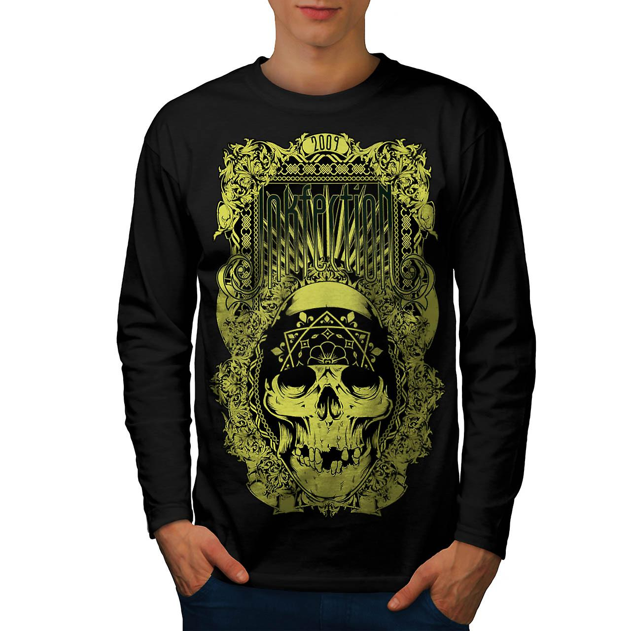 Ink Infection Tattoo Dead Pirate Men Black Long Sleeve T-shirt | Wellcoda