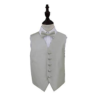 Boy's Silver Solid Check Wedding Waistcoat & Bow Tie Set