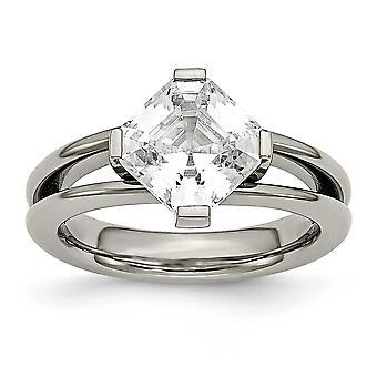 Titane poli anneau zircone cubique - anneau taille: 6 à 8