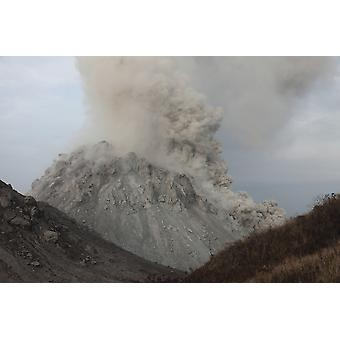 December 1 2012 - Pyroclastic flow descending flank of Rerombola lava dome of Paluweh volcano Flores Indonesia Poster Print