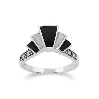 Gemondo 925 Sterling Silver Art Deco Black and White Enamel & Marcasite Ring