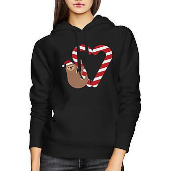 Candy Cane Sloth Christmas Hoodie Holiday Unisex Hooded Sweatshirt
