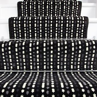 80cm Width - Modern Black White Striped Stair Carpet