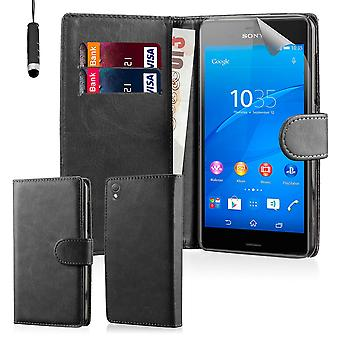 Book Wallet PU Leather Case Cover for Sony Xperia Z3 including screen protector & stylus - Black