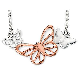925 Silver Rose Gold Plated Butterfly Necklace Trend
