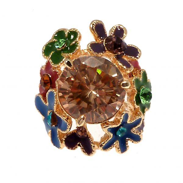 W.A.T Big CZ And Enamel Flowered Cocktail Ring