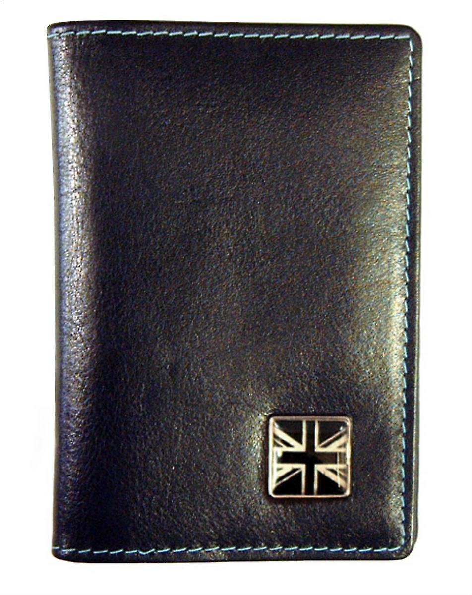 Tyler and Tyler Leather Union Jack Travel Card Holder  - Black