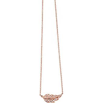 Elements Silver Rose Gold Plated Cubic Zirconia Leaf Pendant - Rose Gold