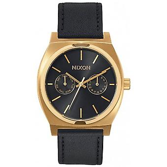 Nixon The Time Teller Deluxe Leather Watch - Gold/Black Sunray