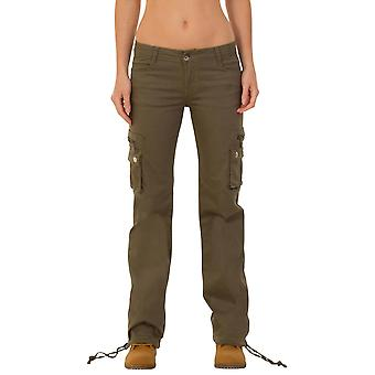 Wide Leg Stretch Cargo Pants Combat Trousers - Green