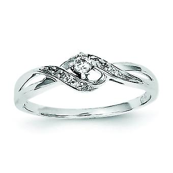 Sterling Silver Polished Rhodium-plated Diamond Promise Ring - Ring Size: 6 to 8
