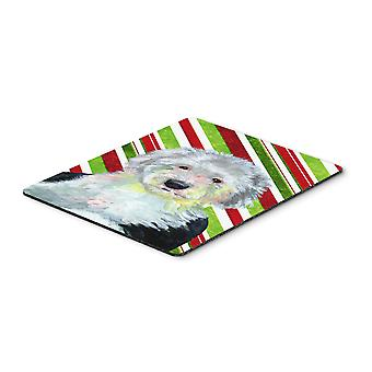 Old English Sheepdog Candy Cane Holiday Christmas Mouse Pad, Hot Pad or Trivet