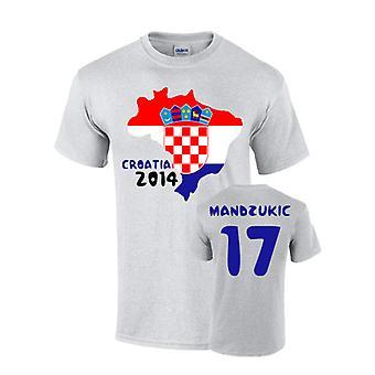 Kroatia 2014 land flagg T-shirt (mandzukic 17)