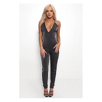The Fashion Bible Gigi Black Sparkle Jumpsuit