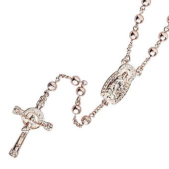 Iced out bling fashion necklace - Rosary rose gold