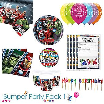 Avengers party tableware bumper pack 1 for 8, 16, 24 or 32 guests