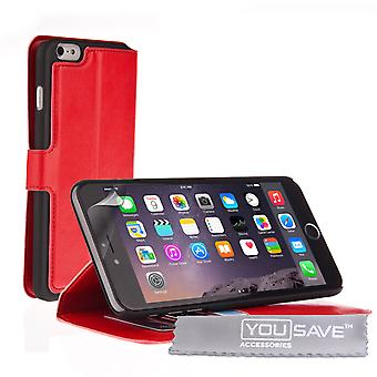 iPhone 6s Plus Leather-Effect Stand Wallet Case - Red