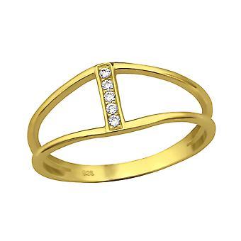 Línea doble - Jewelled de plata de ley 925 anillos - W30995X