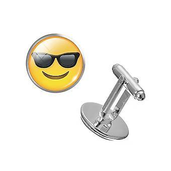 Cool Sunglasses PAIR Of Emoji Cufflinks Yellow Button Fun Party Shirt Cuff Links