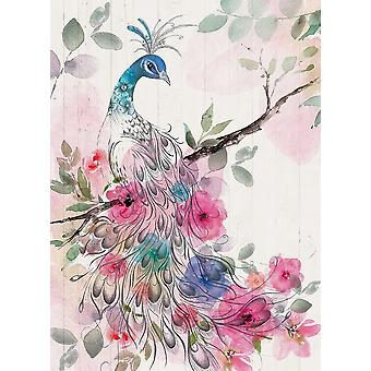 Peacock Floral Poster Print by AV Art