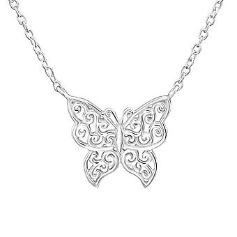 Butterfly - 925 Sterling Silver Plain Necklaces - W37274X