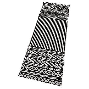 Corredor Corredor lavable de la cocina Lani negro gris 60 x 180 cm