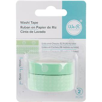 We R Chomper Washi Tape 2/Pkg-Lists & Checks-Mint