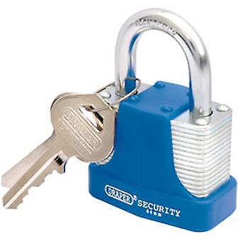 Draper 64181 44mm Laminated Steel Padlock & 2 Keys with Hardened Steel Shackle