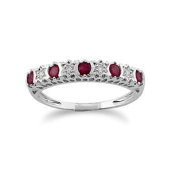 9ct oro bianco 0,31 ct rubino naturale & 2pt diamante anello mezza eternità Band