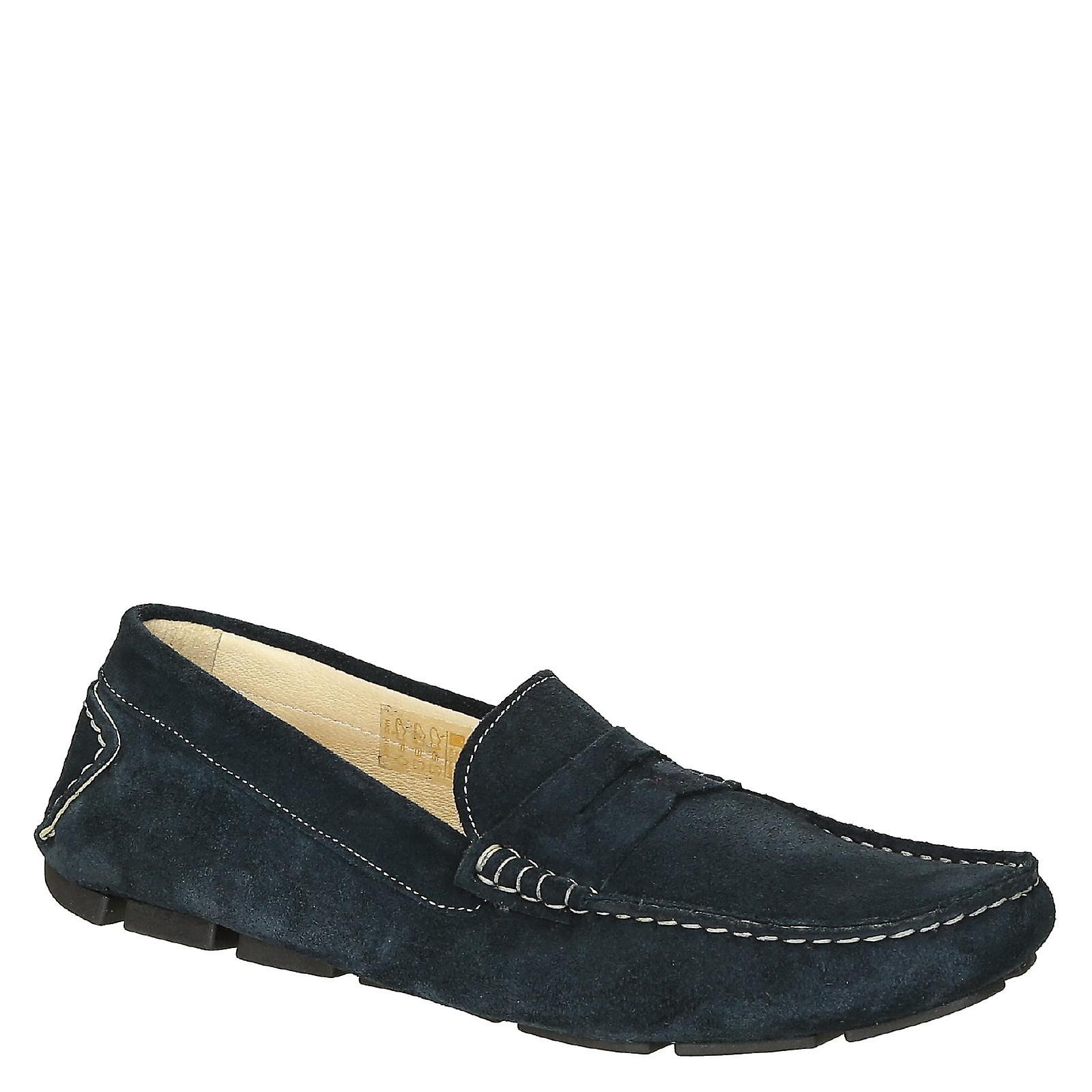 Blue suede leather made men's moccasins made leather in Italy 8a4eee