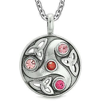 Gudinde keltiske Triquetra knude beskyttelse AmuletCircle Royal rød Pink krystaller vedhæng halskæde