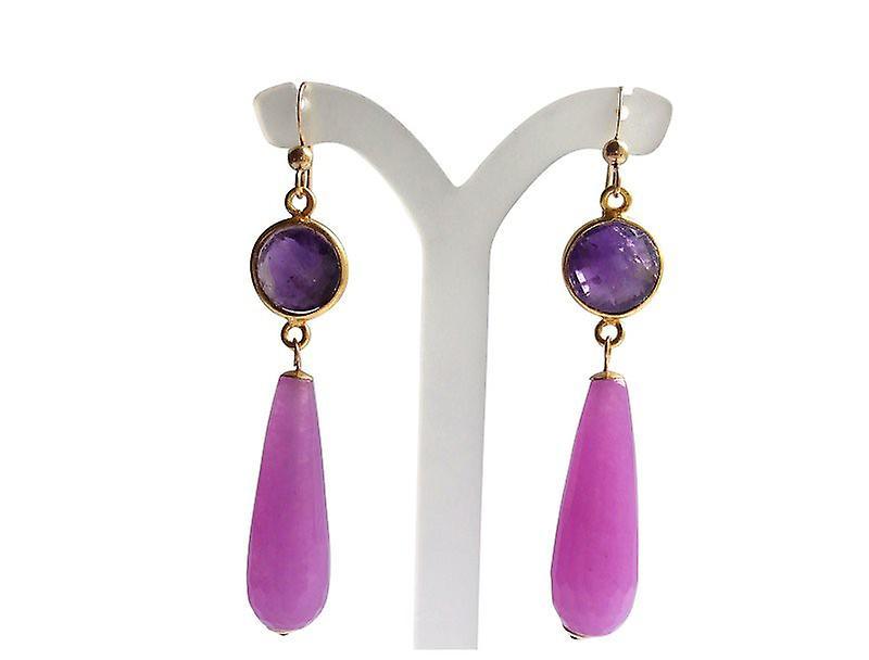 Ohrringe Jade und Amethyst Chandeliers Ohrhänger vergoldet