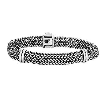 Sterling Silver With Oxidized Finish Domed Woven Mens Bracelet, 8.25