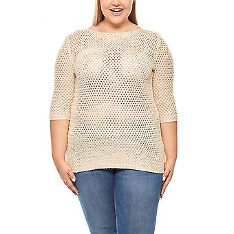 Ladies 3/4 pullover plus size beige ashley brooke