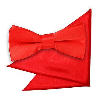 Rød almindelig Satin Bow Tie & lomme firkantet sat til drenge