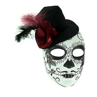 Mens Adult Sugar Skull Mask with Top Hat Rose and Feathers
